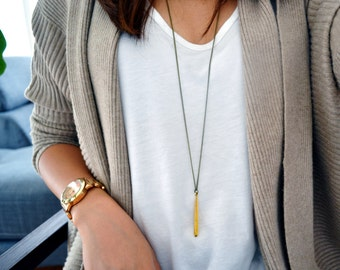 Brass Metal Drip Necklace - Layering necklace - Everyday Jewelry - long necklace