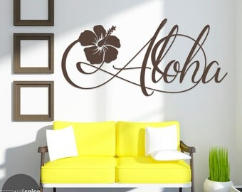 Aloha Hawaiian Flower Vinyl Wall Art Decal Sticker