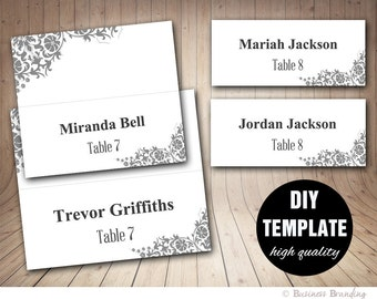 Wedding Place card Template,DIY Placecards Template,Instant Download,Wedding Seating Grey Place cards,Printable Silver Placecard Template
