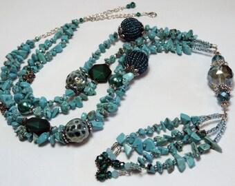 Turquoise Necklace. Long Gemstone Necklace. Turquoise Gemstone Necklace. Statement Necklace. Turquoise Chip Necklace. Gemstone Chip Necklace
