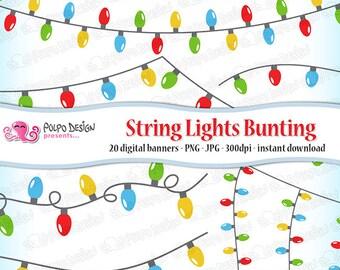 christmas lights etsy - Digital Christmas Lights