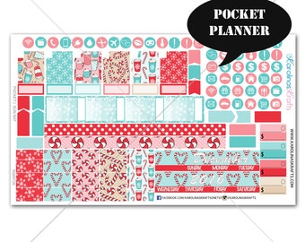 Peppermint Planner Stickers MONTHLY Planner Kit, Pocket Planner Stickers, Sew Much Crafting, Monthly Sticker Kit #SQ00726-Pocket