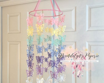 Butterfly mobile in rainbow colors, nursery mobile, paper mobile, crib butterfly mobile, butterflies