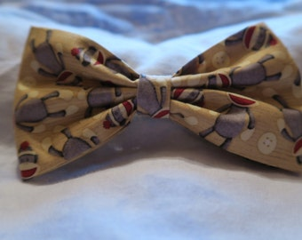 Sock Monkey Fabric Hair Bow