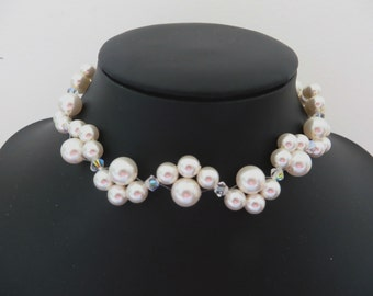 White pearl necklace, Swarovski pearl necklace, White wedding, White bridal necklace, pearl bridal necklace, Pearl choker, Made in the UK