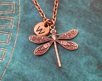 Dragonfly Necklace Dragonfly Jewelry Personalized Jewelry Bridesmaid Necklace Insect Necklace Insect Jewelry Copper Dragonfly Charm Necklace