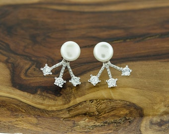 925 Sterling Silver Pearl and CZ Earring Jacket