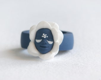 Fairy Flower Ring, Dark Blue Ring, Flower Ring, Artisan Ring, Smile, Face,  Magical Ring, Miracle, Fairy Tale, Faerie,  Mysterious, Fantasy
