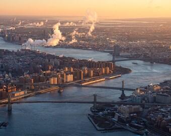 East River Morning, Brooklyn Bridge, Manhattan Bridge, New York City, Aerial View, Financial District - Travel Photography, Print, Wall Art