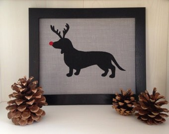 Gray Burlap Rudolph the Red Nosed Reindeer Dachshund Canvas Board