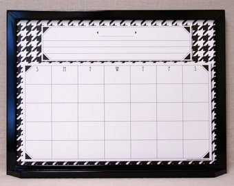 custom framed large wall calendar dry erase board blackwhite houndstooth white board organizer family command center planner whiteboard