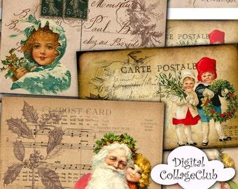 Vintage Victorian Christmas Digital Postacards Cards Father Christmas Card Digital Download Christmas Digital Collage Sheets