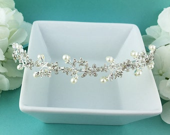 Rhinestone Crystal Pearl bridal headband, wedding headband, wedding headpiece, rhinestone tiara, crystal bridal headband 270740719