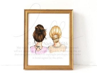 BunDay (Multiple Hair Color Options, Please Read Description Carefully, Fashion Illustration Print)