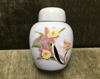 Ginger Jar with Jonquils, Daffodils, White Porcelain Ginger Jar with Pink and Yellow Jonquils, Butterfly, Cream Porcelain