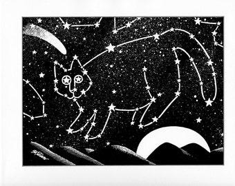 cat constellation night sky Kliban cat cartoon funny vintage print feline illustration 8.5 x 10.25 inches