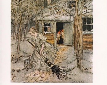 Three Little Men in the Wood Arthur Rackham vintage illustration Brothers Grimm fairy tale home decor 8.5x11.5 inches