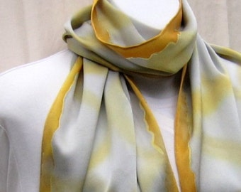 Large charmeuse scarf, hand painted in gold on silver gray.  Silk scarf, yellow and gray, handpainted.  Big gold and silver satin scarf.