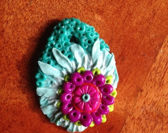 Turquoise and Magenta Floral Pendant
