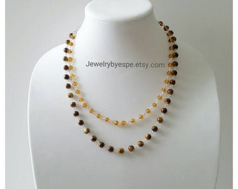 Brown Necklace/Layered Necklace/Double Strand Necklace/Delicate Necklace/Simple Necklace