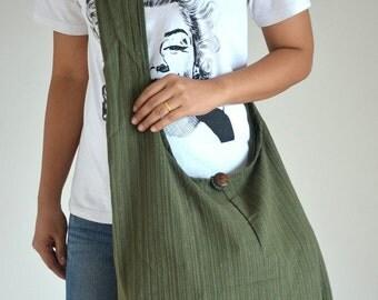 Olive Green Stripe Messenger Bag Vintage Design Bag Hobo Bag Overnight Bag Retro Bag Messenger Bag Shoulder Purse Crossbody Bag Gift for Her