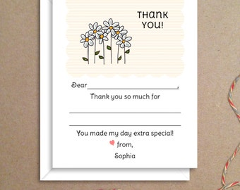 Fill-in Thank You Notes - Daisy Flat Notes - Childrens Thank You Cards- Illustrated Note Cards