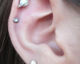 Saturn White Opal Cartilage Stud Earring Piercing Body Jewelry