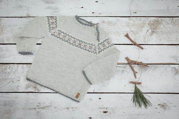 Fair isle sweater in grey / Hand knit alpaca baby pullover /