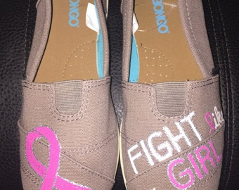 Breast Cancer 'Fight Like a Girl' Women's Canvas Shoes