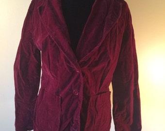 Crushed Velvet Maroon Blazer // Vintage Velvet Jacket