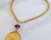 Bracelet - Saint Mary Magdalene Amethyst Bracelet - 18K Gold Vermeil