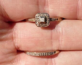 HALO DIAMOND WEDDING Set - White Gold- Diamonds - Wedding - Band Ring-