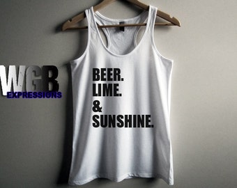 Beer Lime & Sunshine ladies tank top beach clothes summer tank top