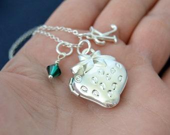May Emerald Birthstone Necklace, Strawberry Locket Necklace, Initial Necklace, Silver Locket Necklace