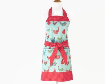 womens bird apron bird kitchen apron with large pockets bird cooking apron gift - Cooking Aprons
