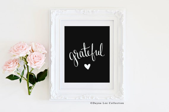 Grateful Heart - Digitally Hand Lettered Illustration Art Quote Print