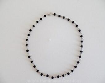 Black Bead Choker, Beaded Choker Necklace , Black Rosary Choker, Black Choker, Rosary Bead Choker, Pearl Choker, Popular Necklace