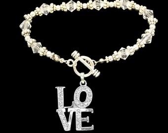 LOVE Beaded Toggle Bracelet