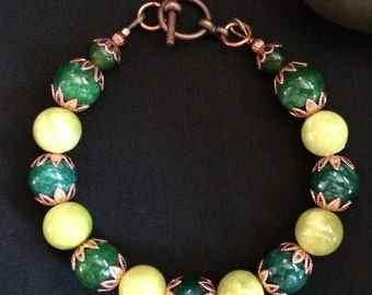 Green and Copper Catseye Bracelet