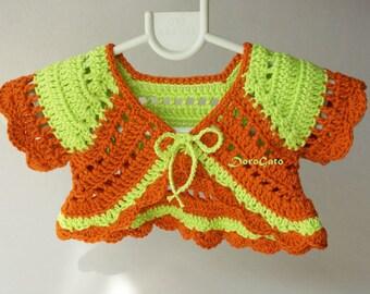 Baby Crochet Shrug, Baby Bolero, Baby Sweater, Baby Girls Ruffle Bolero, Photo Prop, handmade baby shower gift, crochet baby cardigan
