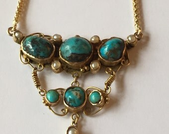 An 18k Vintage Brooch conversion, Turquoise and Pearl