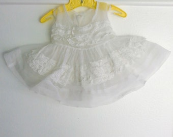 3-6 Months: Sheer White Baby Girl Pinafore Dress, Lace Ruffles
