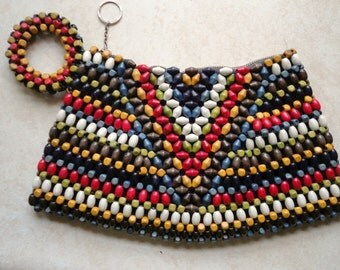 Multi-Colored Beaded Purse: Clutch Purse with Wooden Beads (Czechoslovakian?)