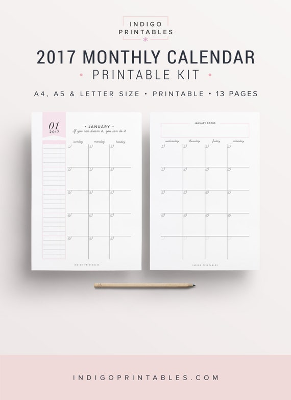 2017 monthly planners