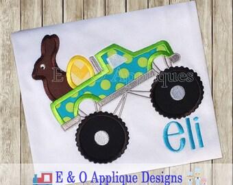 Monster Truck Easter Applique - Monster Truck Applique - Easter Monster Truck Applique Design - Monster Truck Embroidery Design