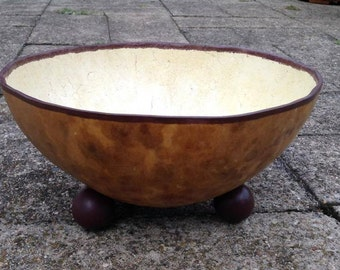 Decorative Gourd Bowl w/ Painted Inside and Feet