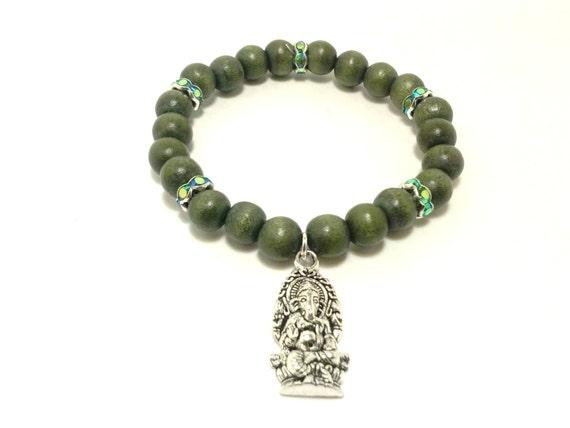 green ganesha bracelet bracelet hindu by shamisesblissful