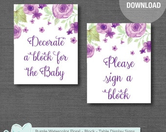 Decorate a Block Sign and Sign a Block Sign Printable, Instant Download, Purple Watercolor Floral, Flower Sign, Floral Sign, Baby Decor,008A