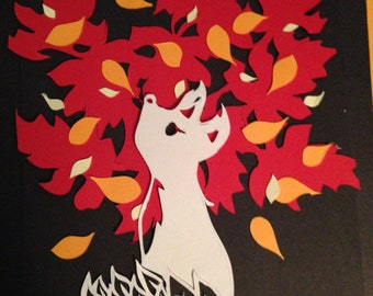 Autumn fox papercut