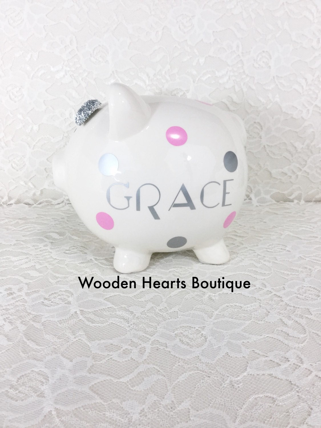 Large silver name personalized piggy bank custom bank first - Engraved silver piggy bank ...